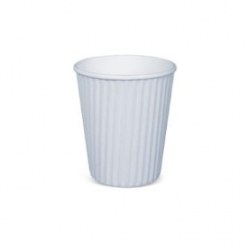 Item R566S0001 -  Ly giấy lượn sóng 2 lớp màu trắng - RIBBED HOTCUP WHITE - 8oz
