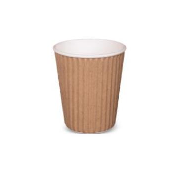Item R566S0015 - Ly giấy lượn sóng 2 lớp màu nâu - RIBBED HOTCUP BROWN - 8oz