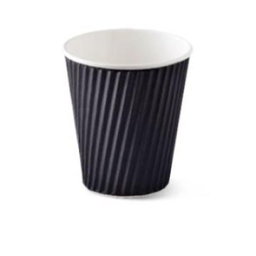 Item R719S0029 - Ly giấy lượn sóng 2 lớp màu đen - RIBBED HOTCUP BLACK - 12oz