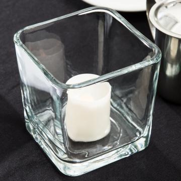 Item 5476 - Hũ đựng nến/ bình hoa thủy tinh Large cube votive - 651ml