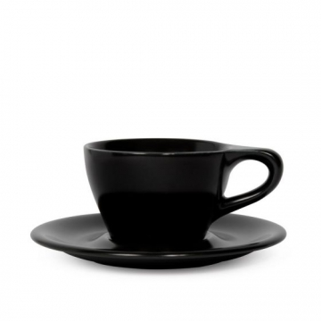 Item LINOBLK180CS - LINO Double Cappuccino Cup/Saucer - Black - 180ml