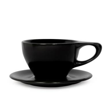 Item 01501514R - LINO Large Latte Cup/Saucer - Black - 355ml