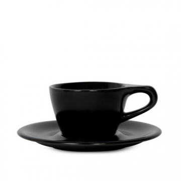 Item LINOBLK150CS - LINO Single Cappuccino Cup/Saucer - Black - 150ml